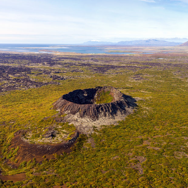 Eldborg crater in Snaefellsnes