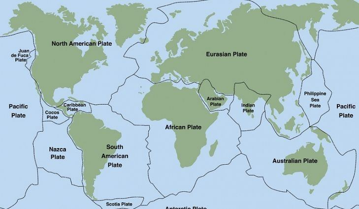 illustration of the tectonic plates of earth