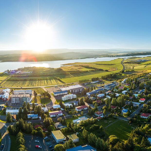 town of Egilsstadir in the eastfjords of iceland