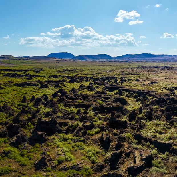 dimmuborgir lava craters and lava field near myvatn lake north iceland