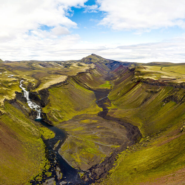 canyon eldgja and waterfall ofaerufoss in the highlands of iceland