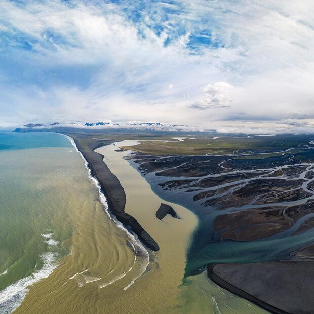 bay of heradsfloi in north east iceland glacial river delta