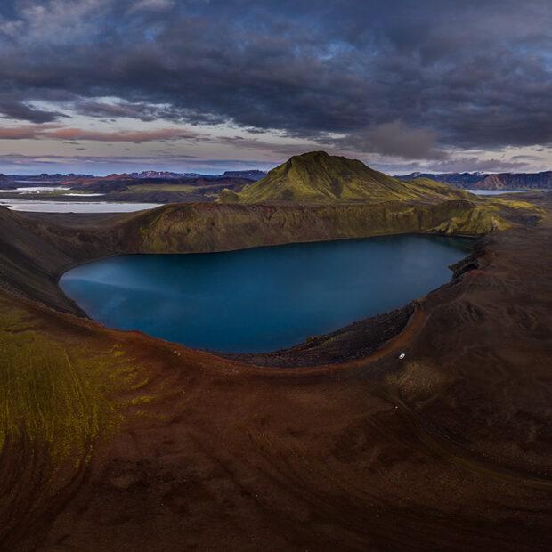 crater lake hnausapollur near landmannalaugar highlands of iceland
