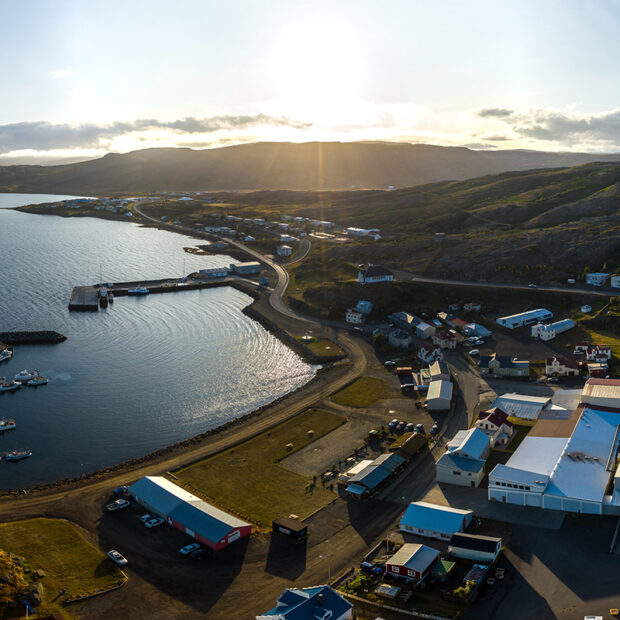 photo of the town of holmavik in westfjords iceland