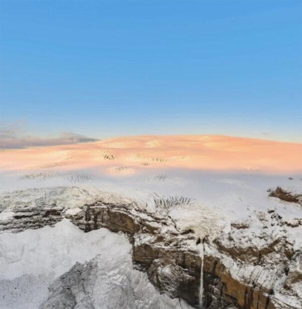huldufjoll mountains and huldufoss waterfall near thakgil and myrdalsjokull iceland
