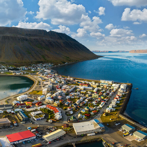 town of isafjordur in the westfjords of iceland