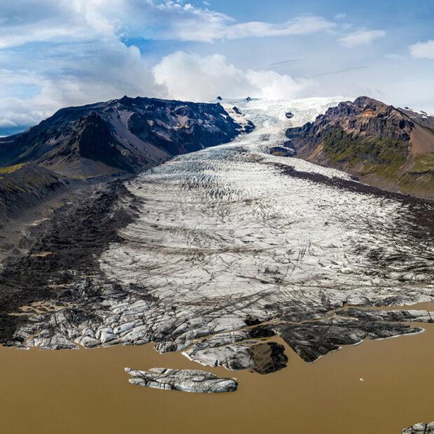 photo of kviarjokull glacier in vatnajokull national park iceland