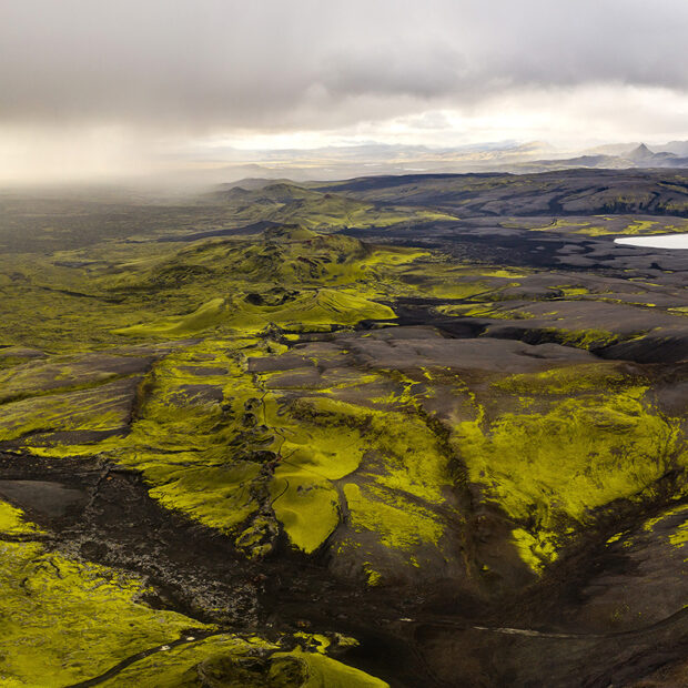lakagigar crater row in highlands of iceland