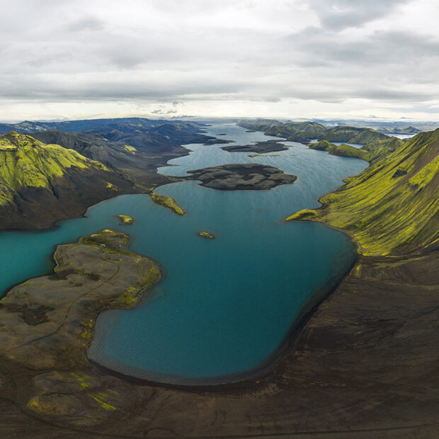 lake langisjor in highlands of iceland
