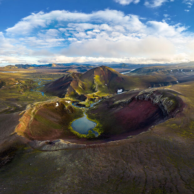 photo of raudibotn crater in the highlands of iceland