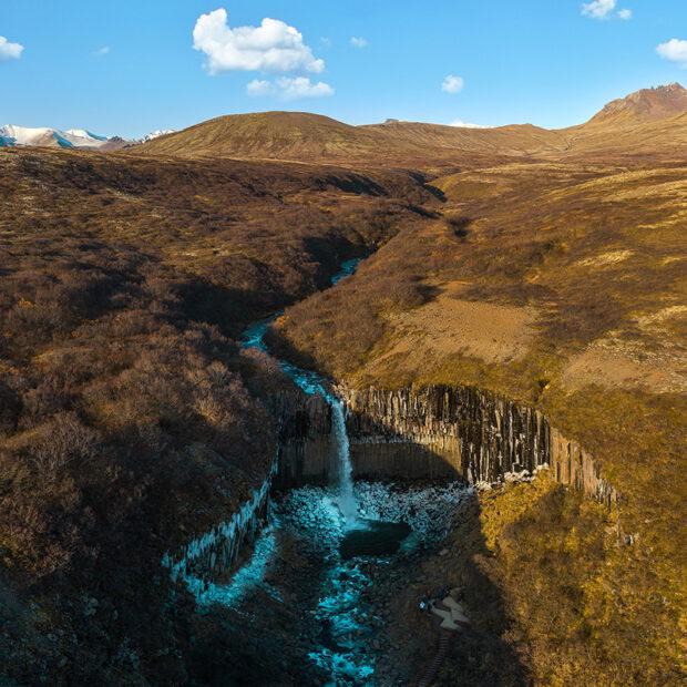 photo of svartifoss waterfall with basalt columns