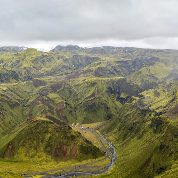 photo of thakgil canyon and campsite in south iceland
