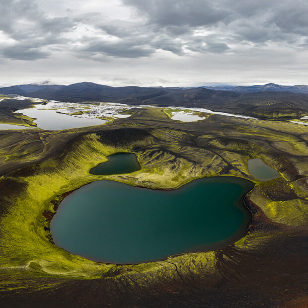 photo of veidivotn fishing lakes in central highlands of iceland