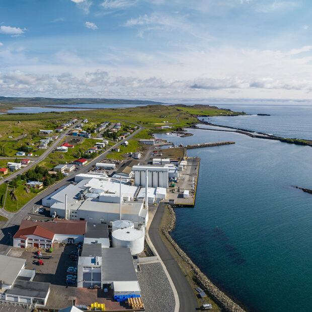 photo of the town of vopnafjordur eastfjords of iceland