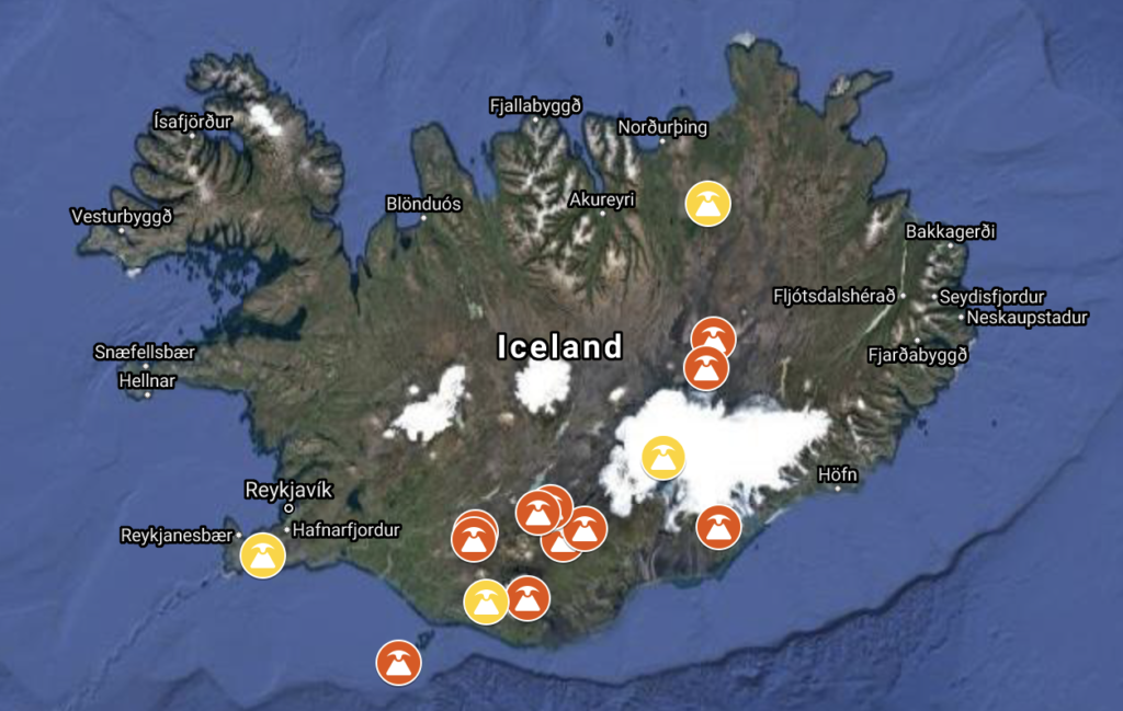 10 largest volcanic eruptions since settlement of Iceland